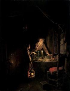 Interieur met een vrouw bij een eettafel