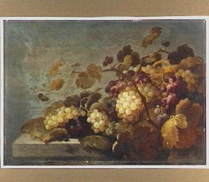 Stilleven van druiven, enkele andere vruchten en wijnranken op een stenen plint