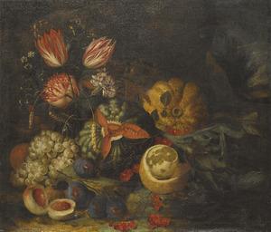 Stilleven met vruchten en bloemen