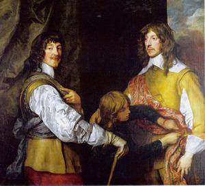 Dubbelportret van Mountjoy Blount, 1st Earl of Newport (?-1666) en George, Lord Goring (1608-1657), met een page