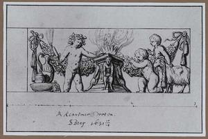 Offerende putti bij een altaar