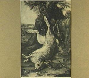 Stilleven met een dode haas bij een naaldboom