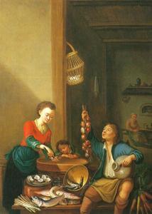 Keukenscène met een meid, die oesters schoonmaakt