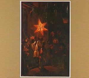 Nachtelijk tafereel met een optocht met lantaarns: Driekoningen
