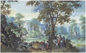 Jacht op watervogels in een boomrijke vallei bij een kasteel