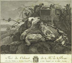 Hond bij buit van drie patrijzen in een landschap