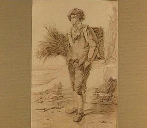 Man op het ijs met een mand en een bundel riet