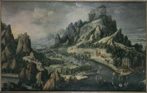 Fantastisch berglandschap met schepen in een riviermonding, picknickend gezelschap en Philippus, die de kamerling ontmoet (Handelingen 8:36-38)