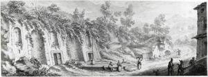 Heuvellandschap met wasvrouwen bij een waterbassin