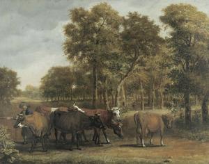 Landschap met een veedrijver en koeien op een landweg