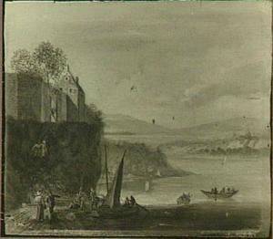 Rijnlandschap met aanlegplaats aan de voet van een stenen poort