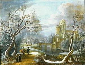Winterlandschap met kasteel