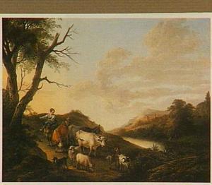Zuidelijk landschap met een herder met vee en een melkmeid op een ezel