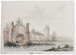 Hattem, de stadsmuur met een vervallen toren