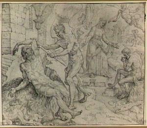 Job op de mestvaalt, gemarteld door de duivel, en: Job door zijn vrouw bezocht