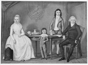 Familieportret van Paulus Nijhoff (1756-1832), Maria Sophia Brouwer en hun zonen Jacob Louis Nijhoff ( -1844) en Isaac Anne Nijhoff (1795-1863)