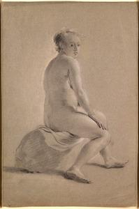 Zittend vrouwelijk naakt, naar rechts