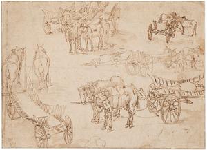Studie van paarden en karren
