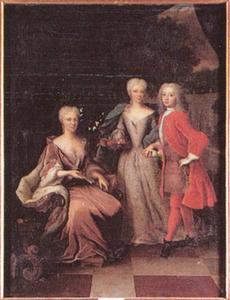Portret van Maria Louise gravin van Hessen -Kassel (1688-1765) met haar kinderen prinses Amalia (1710-1777) en prins Willem IV van Oranje- Nassau (1711-1751)