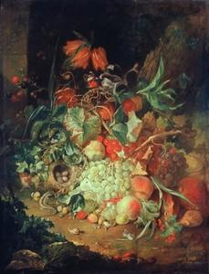 Vruchtenstilleven onder een boom