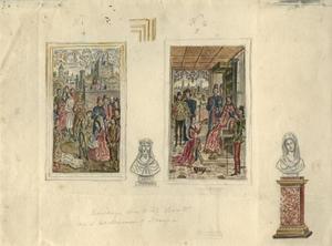 Studie met twee schilderijen van Dieric Bouts en twee borstbeelden in de Gotische Zaal van Paleis Kneuterdijk, Den Haag