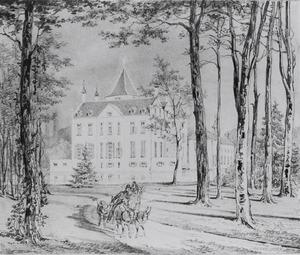 Kasteel Renswoude in Renswoude met Maximiliaan Jacob Leonard Taets van Amerongen (1821-1901) op de voorgrond