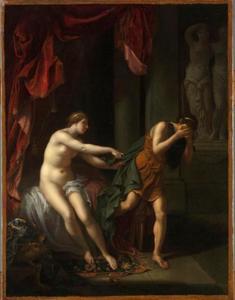 Jozef belaagd door de vrouw van Potifar (Genesis 39:12)