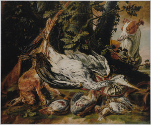 Jachtbuit van reiger, haas en gevogelte; rechts een hond
