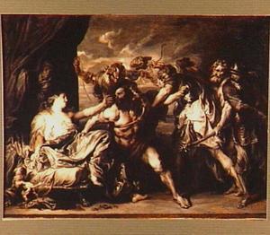 Simson ontwaakt en ontdekt dat zijn haren zijn afgeknipt. De Filistijnen nemen hem gevangen (Richteren 16:20)