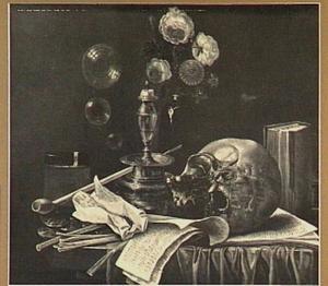 Vanitasstilleven met schedel, boeket bloemen, kandelaar, rookgerei en muziekbladen