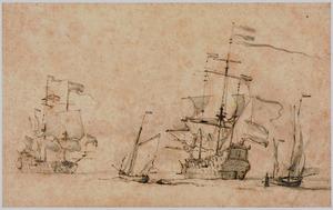 Twee galeien en kleinere boten op zee, voor de slag bij Lowestoft, 1665