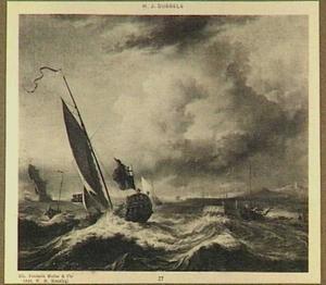 Engels jacht voor de  Hollandse kust met rechts een duinenrij