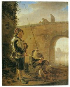 Twee vissende jongens bij een brug