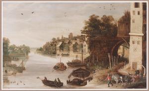 Zuidelijk landschap met stad aan een rivier