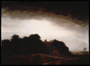 Landschap met boerderij, op de voorgrond een tekenaar