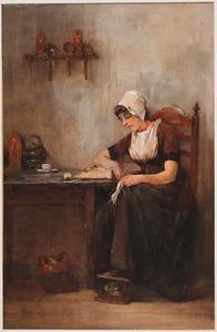 Jonge vrouw uit Walcheren zittend aan tafel