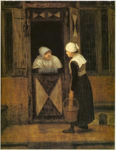 Twee vrouwen converserend aan de deur