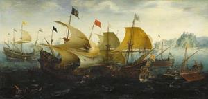Gevecht van Hollandse en Engelse schepen tegen de Spaanse Armada, 8 augustus 1588