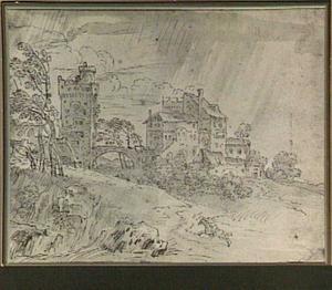 Landschap met huizen en een toren