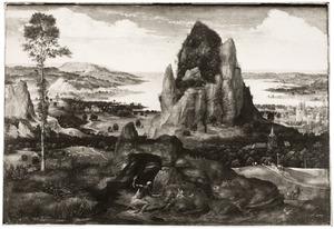 Rotslandschap met de boetvaardige H. Hieronymus in de wildernis