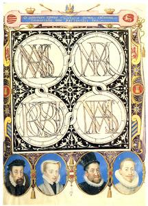 Namen en portretten van Maximiliaan II, Maria, Rudolf en Mathias van Habsburg