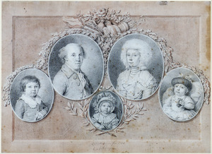 Portret van Adrianus Hartevelt (1759-1827), zijn echtgenote Helena Johanna van Niel (..-1823) en hun kinderen Abraham Cornelis (1784-1850), Johanna Cecilia (1787-1854) en Maria Cornelia (1792-1846), in ovalen