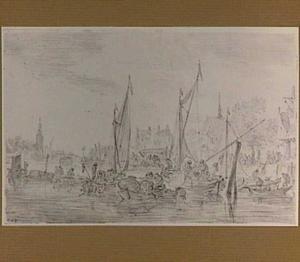 Rivier met vele bootjes en een stad
