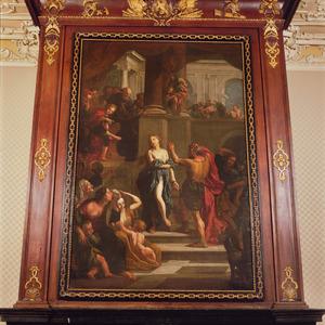Suzanna door getuigenis van de jonge Daniël gered. (Daniël 45-60)