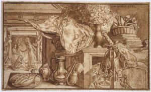 Keukenstilleven, met Christus in het huis van Martha en Maria Magdalena (Lucas 10:38-42)