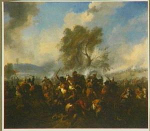 De slag bij Kahlenberg tussen de keizerlijke troepen en de Turken in 1683