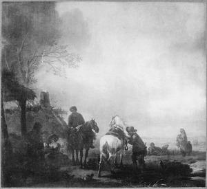 Ruiters en boeren bij een huis, op de achtergrond zigeuners