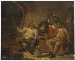 Interieur van een herberg met drinkende en kaartspelende boeren