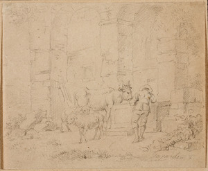 Vee bij een bron met een herder