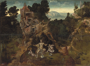 Leda en haar nageslacht in een landschap. In de achtergrond de H. Antonius met een centaur